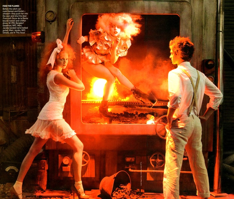 Annie Leibovitz - Lily Cole_Andrew Garfield_Lady GaGa - Hansel & Gretel - Vogue_2009_12_05