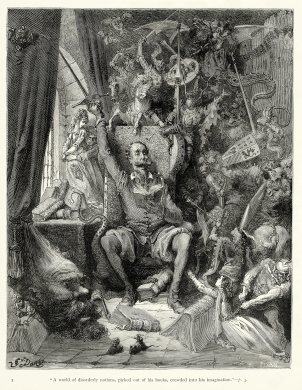 Gustave_Doré_-_Miguel_de_Cervantes_-_Don_Quixote_-_Part_1_-_Chapter_1_-_Plate_1_-A_world_of_disorderly_notions,_picked_out_of_his_books,_crowded_into_his_imagination-