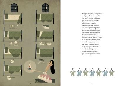 Blancanieves en la casa de los enanos, ilustración de Carles Ballesteros, Amanuta, 2012.