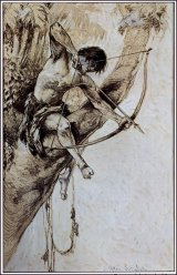 """Ilustración de portada de la primera edición del libro """"Tarzan y las joyas de Opar"""" publicada en 1918. Autor: J. Allen St. John (1872-1957)."""