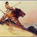 """Ilustración de Tarzan con su fiel compañero Jad-bal-ja para la primera entrega de la serie """"Tarzán y el león dorado"""" publicada en 1922. Autor: P. J. Monahan(1882-1931)."""
