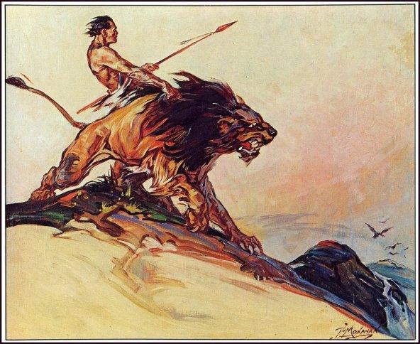 """Ilustración de Tarzan con su fiel compañero Jad-bal-ja para la primera entrega de la serie """"Tarzán y el león dorado"""" publicada en 1922. Autor: P. J. Monahan (1882-1931)."""