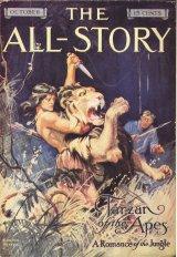 Primera portada de Tarzan aparecida en la edición de octubre de 1912 de la revista The All-Story. Autor: Clinton Pettee (1872-1937).