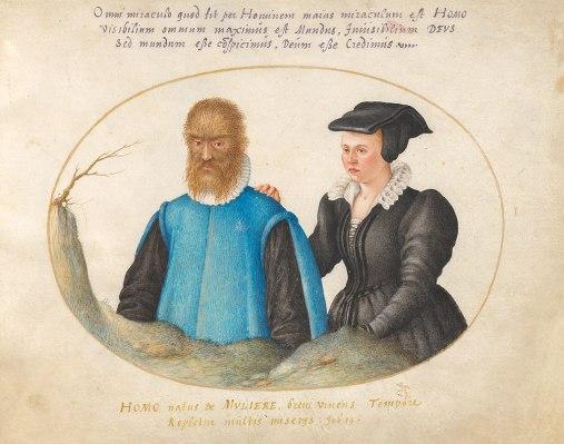 "Petrus Gonsalvus y ""Catherine"", Joris Hoefnagel, 1575."