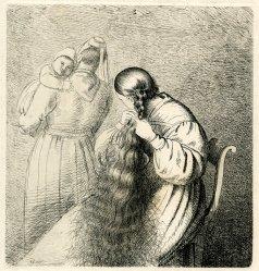 Mujer peinándose.