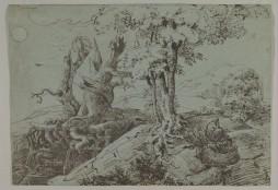 Paisaje escarpado iluminado por la luna con una mujer sentada entre raíces de árboles retorcidos y un búho, 1833.