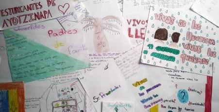 cartas y dibujos Ayotzinapa niños